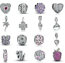 hot European Silver CZ Charm Beads Fit sterling 925 Necklace Bracelet Chain
