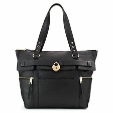 NEW! Juicy Couture Lock Charm Large Shopping Tote - Travel Bag Black w/ Gold