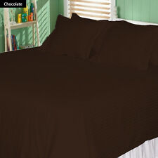USA (CHOCOLATE STRIPE) 1000TC COMPLETE BEDDING COLLECTION 100% COTTON ALL SIZE