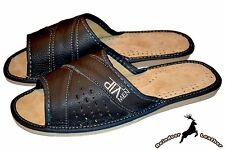 Mens Genuine Natural Leather House Slippers Sandal Shoes Mules Orthopedic InSole
