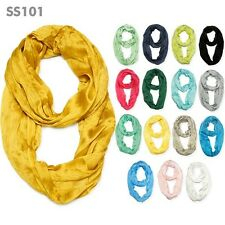NEW FASHION WOMEN SOLID SCRUNCH NATURAL SOFT  INFINITY CIRCLE SCARF / SS101