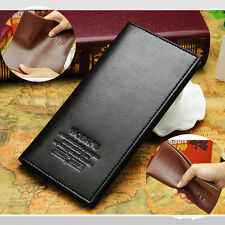 Men's Leather Long Wallet Purse Credit Cards Checkbook Trifold Black Brown