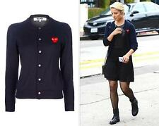 "NWT CDG Comme des Garcons ""PLAY"" Women's Sweater coat Black Red Heart Overcoat S"
