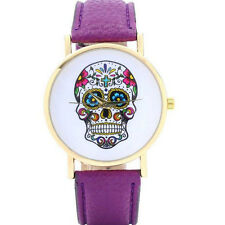 Fashion Colorful FlowerSkull Case Leather Band Big Face Lover Wristwatch Jewelry