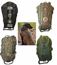 ARMY CAMO US TACTICAL POLICE K9 DOG HARNESS VEST MOLLE USA MILSPEC CANINE VELCRO