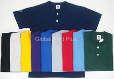 Henley Youth Baseball T-Shirt Tee NuBlend 2 Button Short Sleeve Russell Athletic
