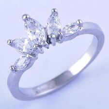 Silver plated Womens Cubic Zirconia Crown Lady Rings wedding engagement SZ 6 7 8