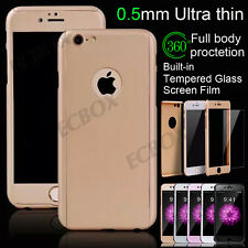 New Ultra Thin 360° Hybrid Screen Tempered Glass Case Shell for iPhone & Samsung