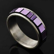 Trendy Womens Titanium Purple Square Piece Band Ring Size 6 7 8 9