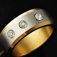 Vintage Mens Yellow Titanium Silver Plated Clear Crystal Ring Size 8-11