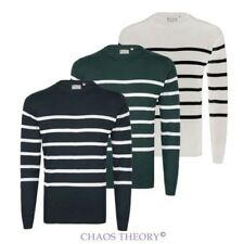 Mens Long Sleeve Cotton Knit Contrast Stripe Sweater Jumper Crew Neck Pullover