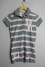 SUPERDRY GS6BH58 HERITAGE DOUBLE STRIPE JERSEY POLO SHIRT ORIGIONAL GREY PINK