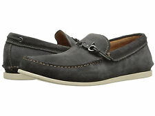 $198 NEW NIB John Varvatos Dog Clip Oxide Gray Leather Boat Shoes Mocs CLEARANCE