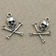 15/50pcs Vintage Tibetan Silver Charms Skull Pendant 23*19mm DIY Fashion Jewelry