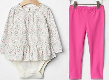 GAP Baby Girl Lot Double Bodysuit 116415 + Leggings 537569 Cotton Floral 12-18