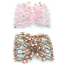 2Pcs Flower Easy Magic Bead Double Hair Comb Clip Stretchy Hair Combs Clips Lady