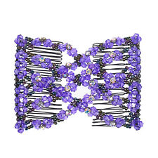 2PCS Double Magic Hair Combs Handmade Butterfly Hair Clip MultiColor Beads Bling