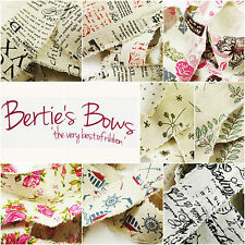 Bertie's Bows Raw Edge Printed 50mm Burlap Ribbon - 8 Designs -  3 FOR 2 - P/m