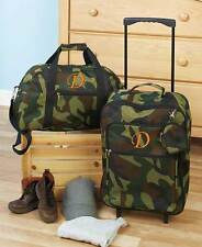 3 Pc. Monogram Luggage Sets Army Camo Rolling Suitcase Duffel Clutch Kids Adult