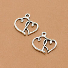 20/50ps Retro Tibet Silver Double Heart Charms Pendant Jewelry Findings 17x19MM