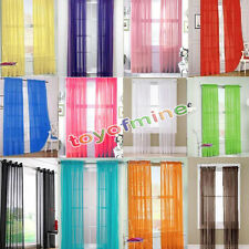 2 X Transparent Tulle Voile Door Window Curtain Drape Panel Sheer Scarf Valance