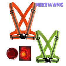 Safety Cycling Vest With Clip On  Reflective LED Strobe Flashing Warning Light