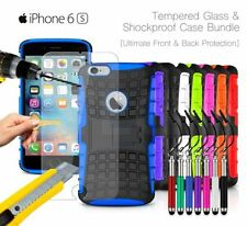 Apple iPhone 6S - Shockproof Grip Case Cover, Ret Pen & Tempered GLASS