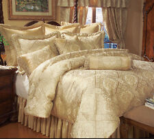 9 Piece Comforter Set Silky Jacquard Classic Regal Design - Soft Gold
