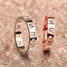 Stainless Steel 14K Rose Gold Hollow Roman Numerals CZ Lovers Rings Tail Ring