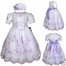 New Baby Girl & Toddler Easter Wedding Party Formal Dress Lilac S M L XL (9M-3T)