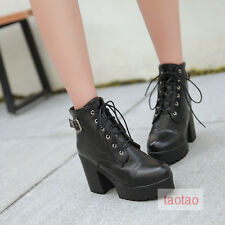 Womens Girls Mid Calf Lace Up Buckle Boots High Heels Shoes AU All Size TB1428
