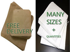 Brown Kraft or White Sulphite Strung Paper Food Bags for Sandwiches Groceries