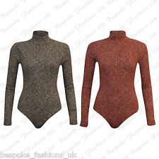 Women's Ladies Polo Turtle Neck Knitted Ribbed Bodysuit Leotard Stretch Top 8-14