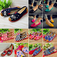 New Women Boat Shoes Espadrilles Ladies Casual Ballet Flats Slip on Canvas Shoes