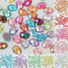 Oval Shaped - Checker Cut - AB Colors Acrylic Flat Back Rhinestones Scrapbooking