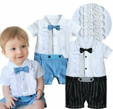 Baby Boy Wedding Christening Dressy White Tuxedo Suit Romper Outfits Clothes