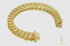 "12mm 14K Italian Miami Cuban Semi-Solid Link Yellow Gold Men's Bracelet 7""-9"""