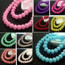 HOT Sell 8mm 40pcs Painted Rubber Paint Glass Rondelle Faceted Spacer Beads