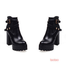 Hot Womens Girls Ankle Side Zip Platform Boots High Heels Shoes AU Size TB1532