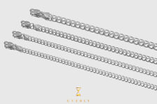 """2.5mm-6mm 14k Cuban Curb Solid White Gold Chain Necklace Unisex 16""""-30"""""""