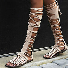 New Womens Strappy Gladiator Sandals Flat Heel Summer Knee High Boots Party Shoe