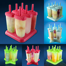 6 Freezer Ice Pop Maker Mold Popsicle Yogurt Ice Cream Frozen Pops Cake Treats