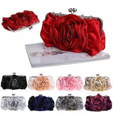 Hot Women Satin Rhinestone Handbag Wedding Party Flower Clutch Purse Evening Bag