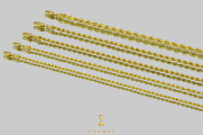 "1.5mm-4mm 10k Rope Diamond Cut Semi-Solid Yellow Gold Chain Unisex 16""-30"""