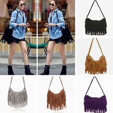 Vintage Celebrity Tassel Suede Fringe Shoulder Messenger Handbag Cross Body Bag
