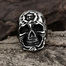 Silver Biker Cracked Skull Ring with Face Forehead Stainless Steel Gothic Biker