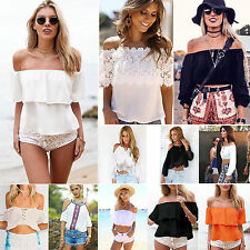 Sexy Womens Summer Off Shoulder Tee Tops T-shirts Casual Bandage/ Strappy Blouse