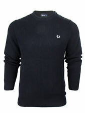 Mens Fred Perry Crew Neck Ribbed Jumper with Laurel Logo - Navy