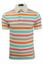 Mens Fred Perry Multi Stripe Polo T-Shirt S/S White/Green