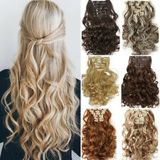 Heat Resistant full head 8piece hairpiece clip in hair extensions curly straight